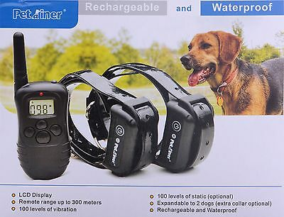 NEW 300M Rechargeable Vibration Shock Remote Dog Training Collar LCD Waterproof