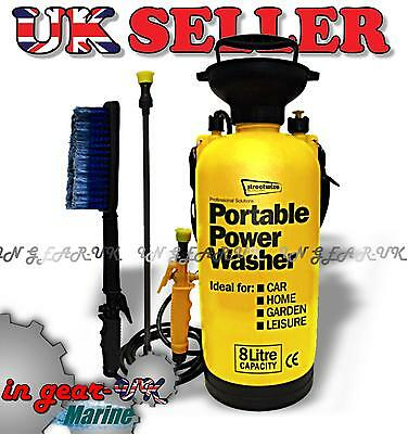 Portable Car Boat Power Pressure Washer Brush 40psi Jet Spray Hand Pump Wireless