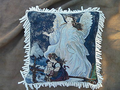 """Guardian Angel Watching Children on Bridge Tapestry w Fringe 16"""" Accent Pillow"""