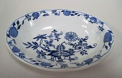"""Ridgways Blue Onion Pattern 6.25"""" Oval Bowl Made in England #2"""