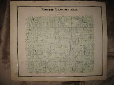 Antique 1871 North Bloomfield Township Blooming Grove Morrow County Ohio Map Nr