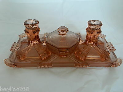 Gorgeous Stolzle Art Deco Vanity/ Dressing Table Set  Amber Colour Clear/Frosted