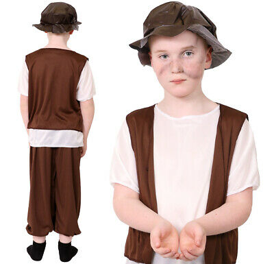 Poor Tudor Boy Costume Kids Historical School Book Day Victorian Fancy Dress