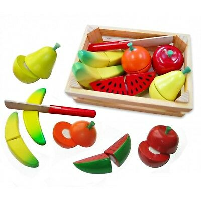 NEW Fun Factory Wooden Fruit Cutting Crate & Knife Pretend Play Kitchen Food