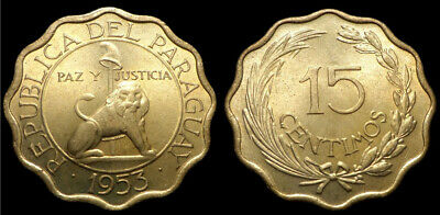 Paraguay 1953 15 Centimos Uncirculated (KM26)