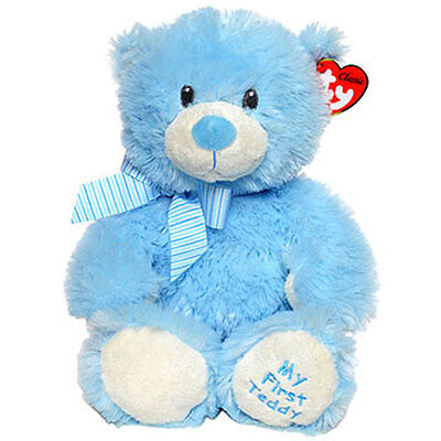 TY Classic Plush - MY FIRST TEDDY the Blue Bear (13 inch) - MWMT's