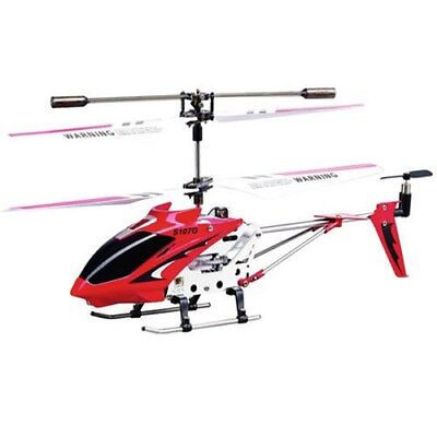 Gyro 3-Channel S107 Remote Control Red RC Helicopter Mini Metal Body Frame Red
