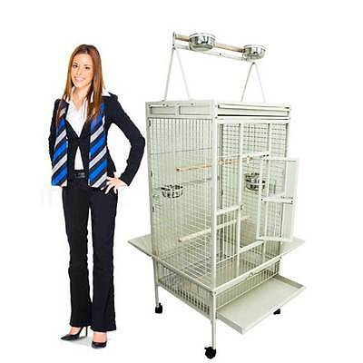 Bird Cage Large Play Top Amazon Parrot Finch Cage Macaw Cockatoo Pet Supply Whte