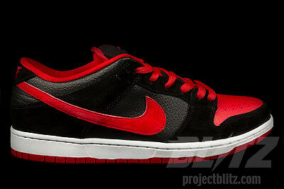 ab6711709e5c14 NIKE DUNK LOW Pro SB BRED Size 6 BLACK UNIVERSITY RED 304292-039 j ...