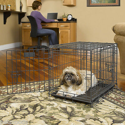 """Dog Crate Metal Wire Cage Strong TRIPLE-Door Kennel Pet MidWest Select 24"""" XS"""