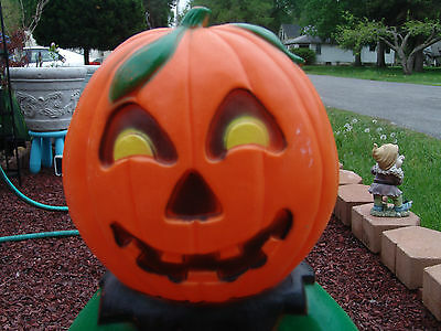 "Vintage Pumpkin Head Scarecrow 31"" Tall Blow Mold Halloween Free Shipping"