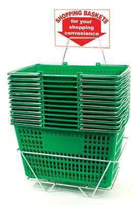 AYS 12 Basket Set Jumbo-Size H/D Shopping Baskets/Chrome Handles (Green)