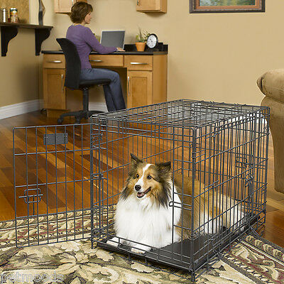 """Dog Crate Metal Wire Cage Strong TRIPLE-Door Kennel Pet MidWest Select 30"""" S"""