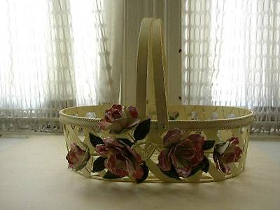 Vintage, One of a Kind, Beautiful, Good Quality Floral Painted Metal Basket