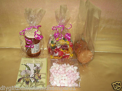 "Clear Cellophane Gift Bags Wedding Sweet Cookies Valentines Hampers 12"" x 4.75"""
