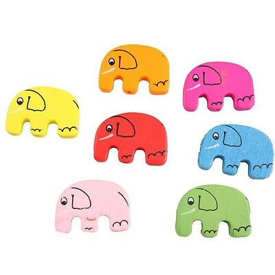 20x 113515 Multi-Colors Elephant Traverse Loose Wooden Spacer Beads Fit Craft C