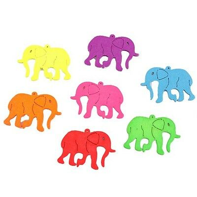 40x 113513 NEW Multi-Colors Elephant Shape Loose Wooden Spacer Bead Fit Craft C