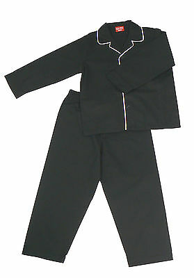 Pyjama Suit Sleepwear 100% Cotton  Black With White Piping  4-9 Years