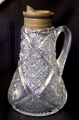 Old  EAPG Pattern Glass Swirled Starburst Fan & Button Large Cream Syrup Pitcher