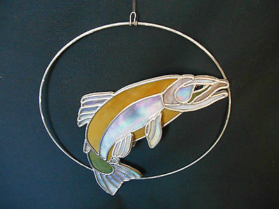 "VINTAGE but NEW HANGING STAINED GLASS 3D JUMPING FISH 12"" for WINDOW"