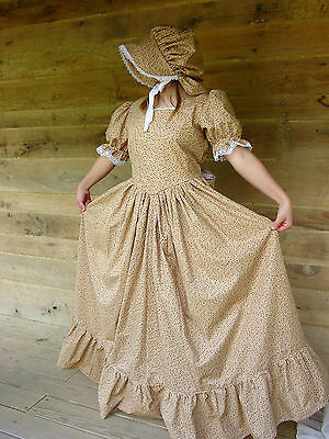 Handmade Historical Costumes Pioneer Girl Colonial ~Golden Prairie Dress~10/12