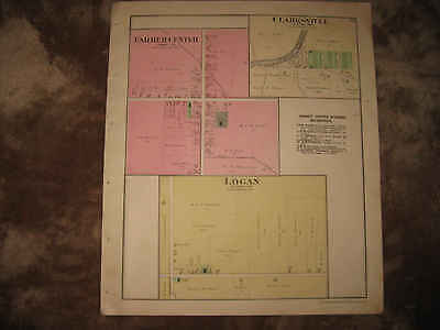 Antique 1890 Farmer Center Clarksville Logan Defiance County Ohio Handclr Map Nr
