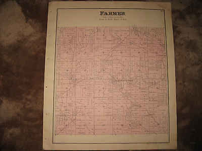 Antique 1890 Farmer Township Defiance County Ohio Handcolored Map Superb Nr