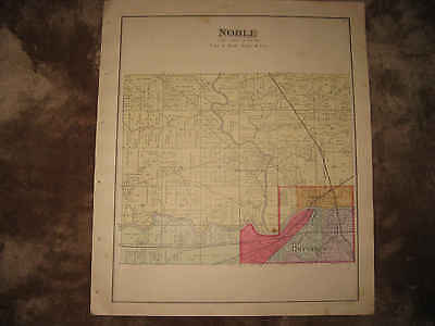 Antique 1890 Noble Township Brunserburg Defiance County Ohio Handcolored Map Nr