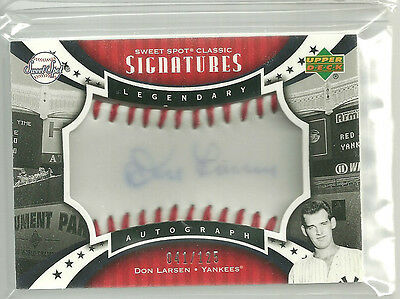 Don Larsen 2007 UD Sweet Spot Classic Signatures Red Stitch Blue Ink Auto 41/125