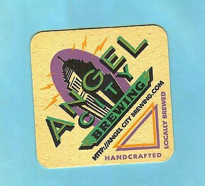 3-1/2 INCH ANGEL CITY BREWING COASTER ... Handcrafted - Locally Brewed .......