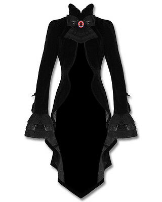 Punk Rave Gothic Jacket Tailcoat Cloak Black Velvet Vampire Knight Lace Bustle