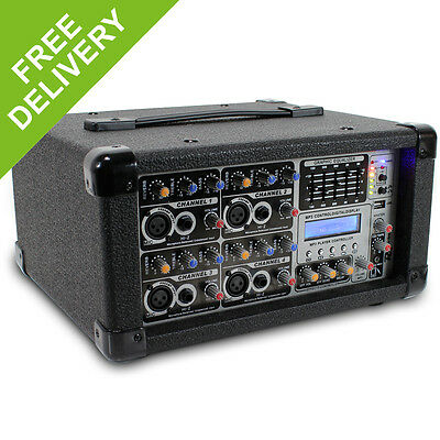 PD Powered Mixer Amplifier 4 Channel Live Stage Sound PA System DJ Band Amp