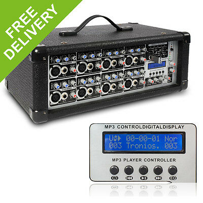 PD Powered Mixer Amplifier 8 Channel Live Stage Sound PA System DJ Band Amp