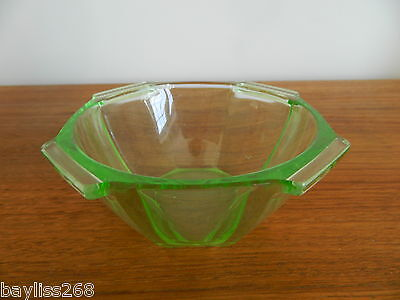 Lovely Vintage Uranium Glass Bowl,Distinctive Design Nice Collectible Example