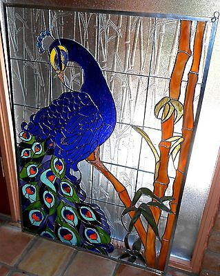 """Stained Glass Window Panel, Regal Peacock, 28"""" x 40"""" - I Can Make One For You!"""