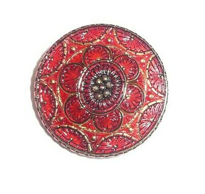 """Beautiful Red Hand Painted w/Gold Lacy Czech Glass Shank Button  1-1/4"""""""