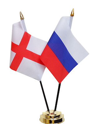 England & Russian Federation Russia Double Friendship Table Flag Set