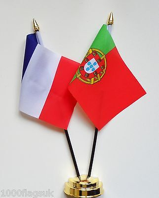 France & Portugal Double Friendship Table Flag Set