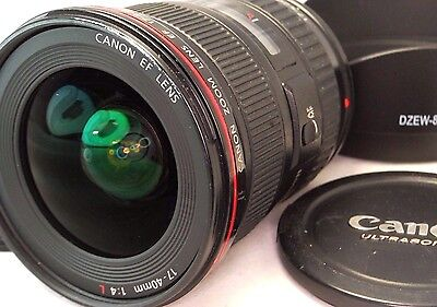 Canon EF 17-40mm F4 L USM Ultrasonic Lens with hood caps -  MINT condition