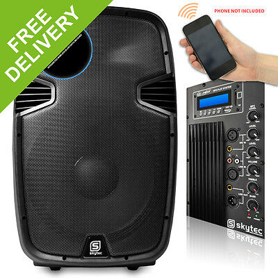 "Skytec 15"" Bluetooth Active Powered Speaker MP3 USB SD DJ PA Disco Party 800W"