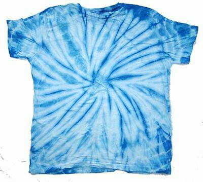 PETITE LT BLUE SPIDER TYE DYED TEE SHIRT unisex SIZE XLG hippie tie dye PET08