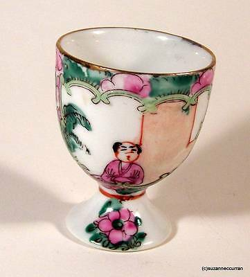 Antique Chinese Famille Rose Medallion Saki or Egg Cup