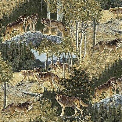Windham Northwoods Collection Multi Wolves 1/2 Yard Free Shipping
