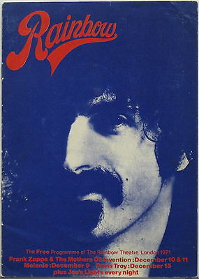 FRANK ZAPPA Rainbow Theatre 1971 CONCERT PROGRAM VG++ Mothers Of Invention