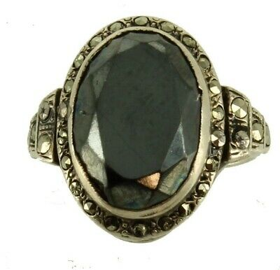 Semi Antique Sterling Marcasite 3.8Ct Oval Faceted Hematite Ring Sz 5 Pretty
