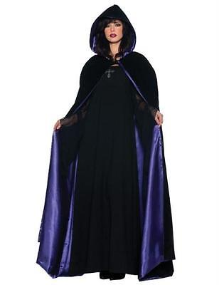Adult Deluxe 63In Black Purple Lining Hooded Cape Cloak Gothic Costume Ur29209