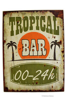 "Large 16"" Wood Distressed Vintage-Style Tropical Bar Decor Wall Art Sign Plaque"