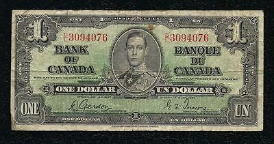 Bank Of Du Canada One Un Dollar 1 1937 Very Nice Circulated!