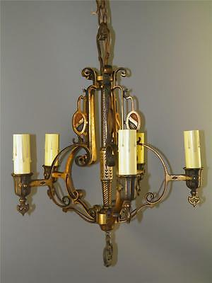 Antique Gothic Spanish Revival Cold Painted Bronze Chandelier Light Fixture
