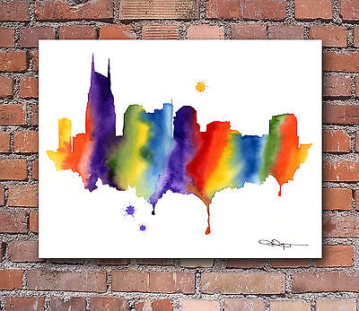 Nashville Skyline Abstract Watercolor Painting Art Print by Artist DJ Rogers